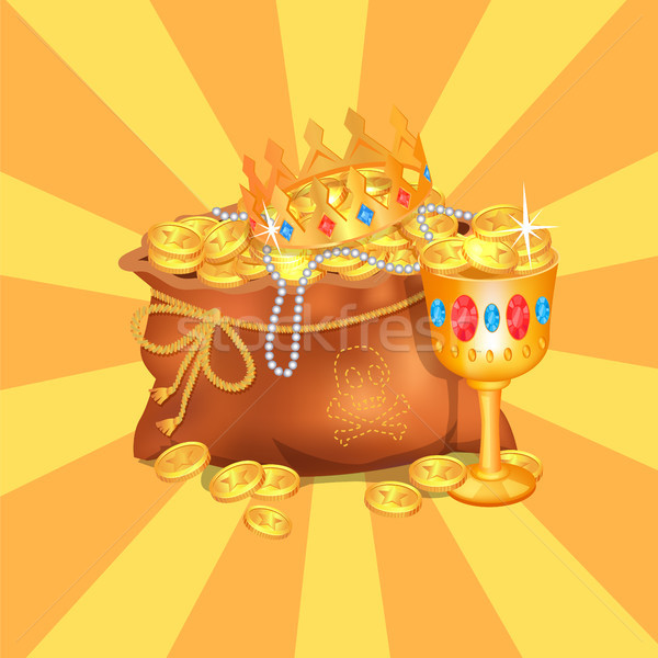 Tajemniczy ukryty worek królewski korony skarb Zdjęcia stock © robuart