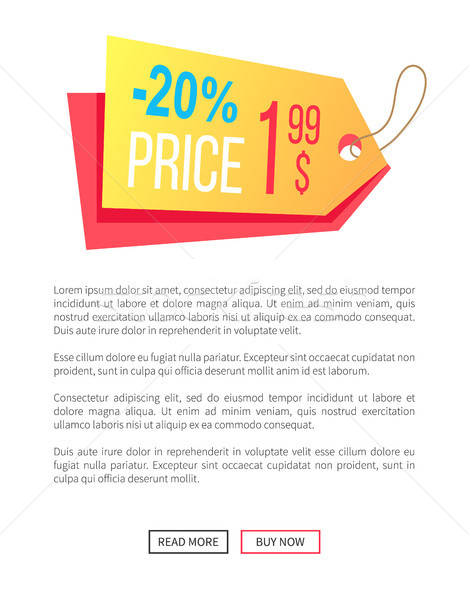 20 Off Price Dollar Hanging Sticker Web Poster Stock photo © robuart