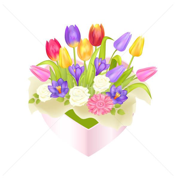 花 オーバル 装飾的な ボックス 高級 チューリップ ストックフォト © robuart