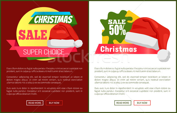 Sale Emblems and Santa Claus Hats on Promo Labels Stock photo © robuart
