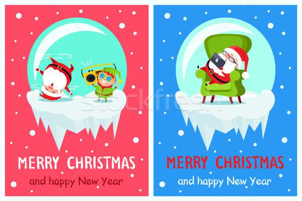 Joyeux Noël happy new year elf bannières Photo stock © robuart