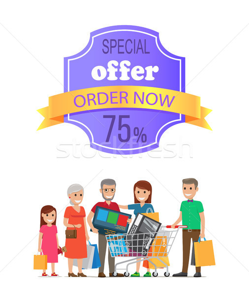 Special Offer Order Now 75 % Promo Label on Poster Stock photo © robuart