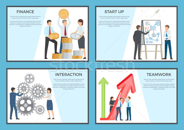 Set of Cartoon Style Posters Dedicated to Business Stock photo © robuart