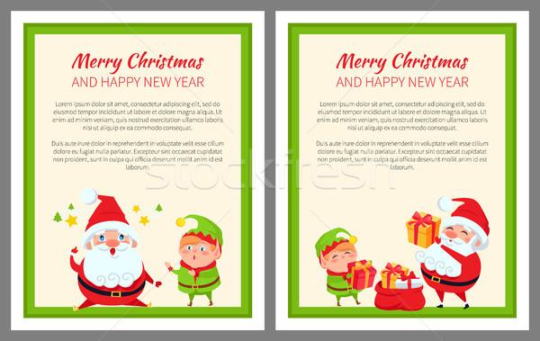 Merry Christmas Santa, Gifts Vector Illustration Stock photo © robuart