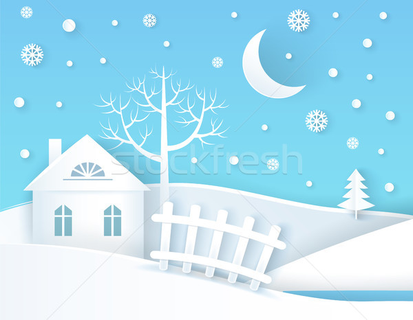 Tél plakát higgadt falu nyugalmas épület Stock fotó © robuart