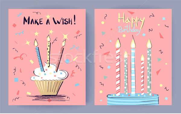Gyártmány kívánság boldog születésnapot gratuláció rózsaszín torták Stock fotó © robuart