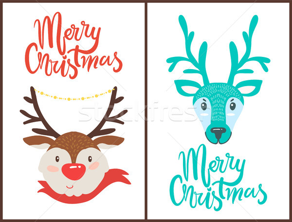 Merry Christmas Reindeers Vector Illustration Stock photo © robuart