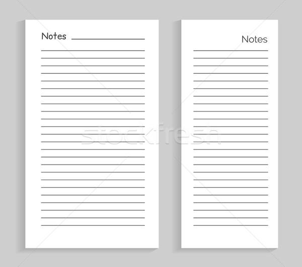 Notes Empty Sheet Images Set Vector Illustration Stock photo © robuart