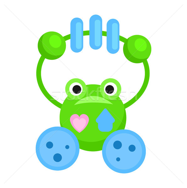 Rattle in Form of Funny Green Frog Illustration Stock photo © robuart