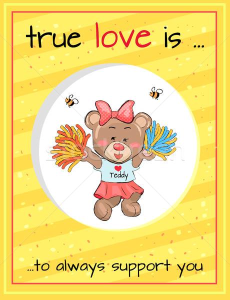 True Love Always Supports Teddy Girl Cheerleader Stock photo © robuart