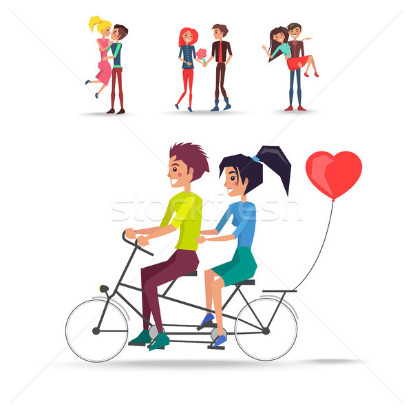 Stock photo: Concept of Couples in Love Ride Bicycle on White