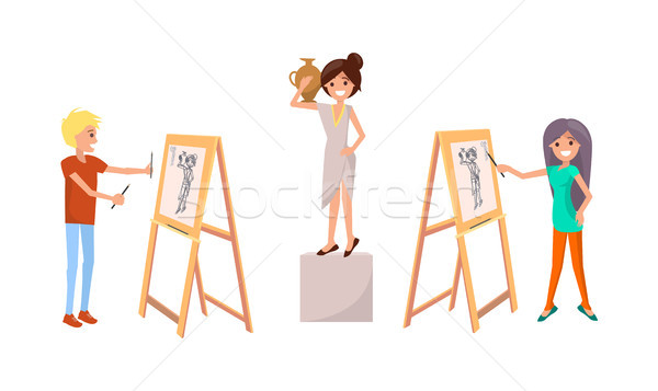People Draw Still Life Picture of Woman with Vase Stock photo © robuart
