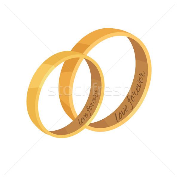 Pár arany jegygyűrűk vektor szeretet örökké Stock fotó © robuart