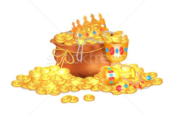 Oude zak vol koninklijk goud Stockfoto © robuart