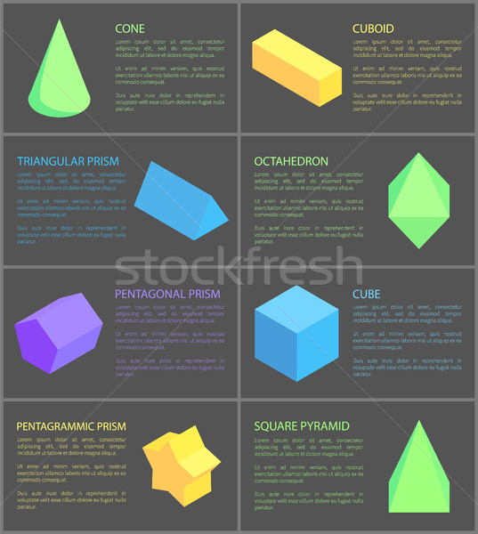 Cone Cuboid and Cube, Eight Geometric Posters Stock photo © robuart