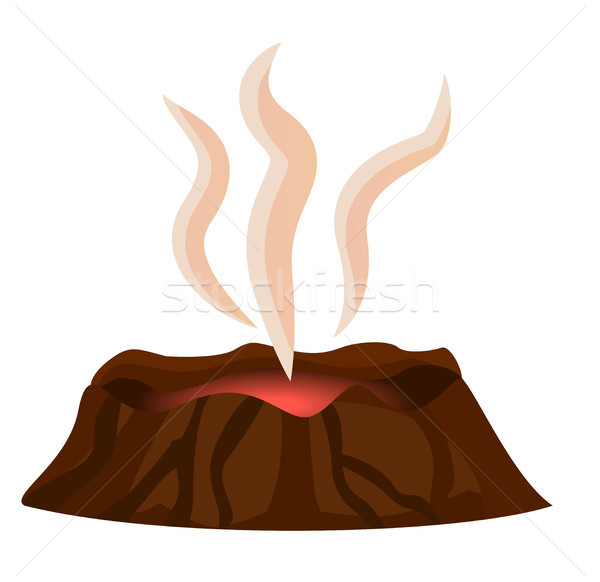Volcano Stopped Eruption of Lava Smoke Over Crater Stock photo © robuart