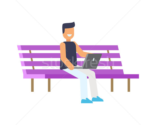 Happy Man Sitting on Lilac Bench, Colorful Poster Stock photo © robuart