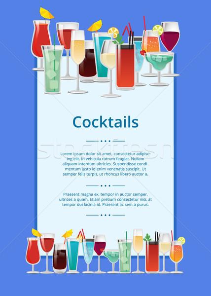 Koktajle plakat wielobarwny odizolowany niebieski tle Zdjęcia stock © robuart