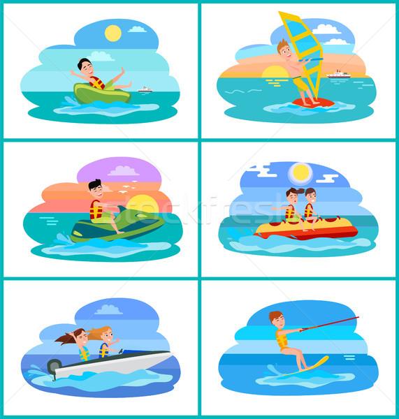 Tatlı çörek ayarlamak faaliyetler toplama rüzgâr sörfü kayıkla gezme Stok fotoğraf © robuart