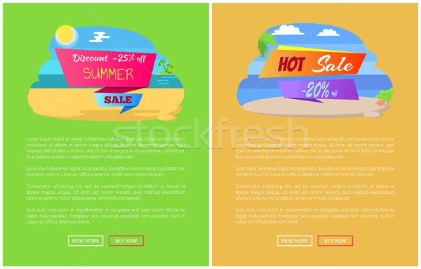 Sale for Summer Journey Abroad Promo Posters Set Stock photo © robuart