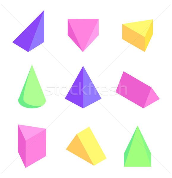 Geometrik ayarlamak renkli model koni kare Stok fotoğraf © robuart