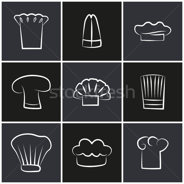 Variety Chef Hats, Set of White Cook Headwear Logo Stock photo © robuart