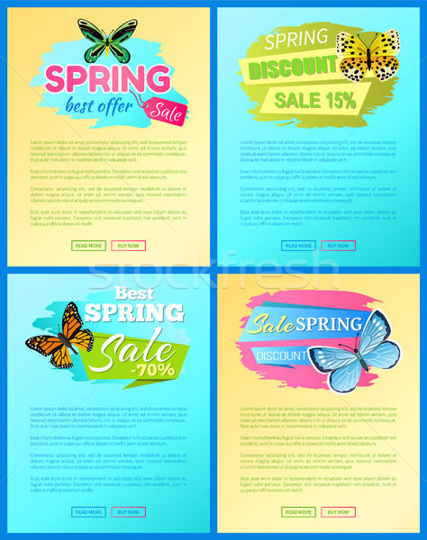 Sale Spring Discount Labels on Web Posters Set Stock photo © robuart