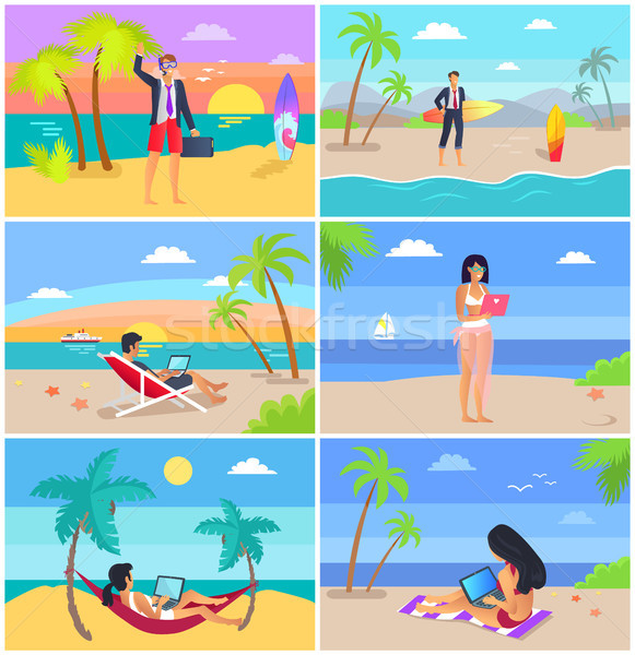 Freelance Distant Work and Rest on Summer Beach Stock photo © robuart