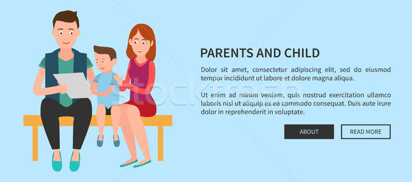 Parents and Child Web Poster Mother Father and Son Stock photo © robuart