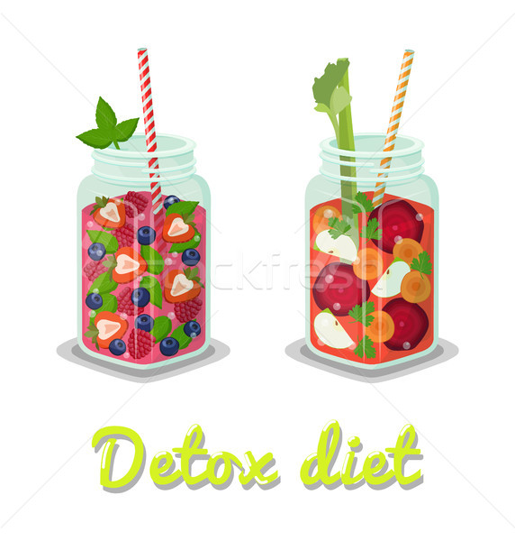 Detox Diet Fresh Beverages Vector Illustration Stock photo © robuart