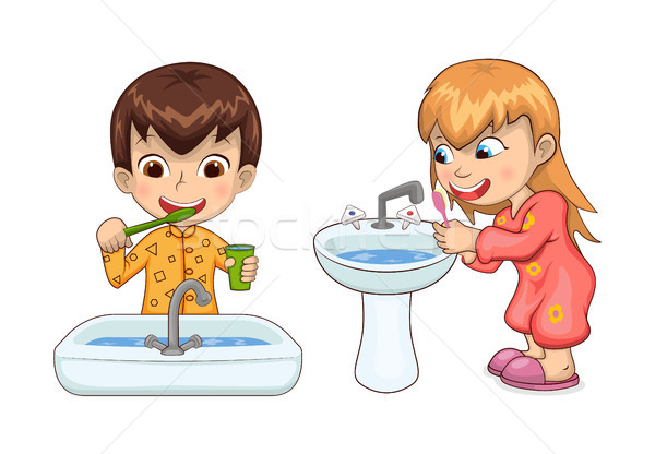 Young Boy and Girl Hygiene Vector Illustration Stock photo © robuart