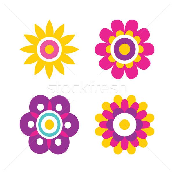 Bloemen cartoon stijl kinderachtig Stockfoto © robuart