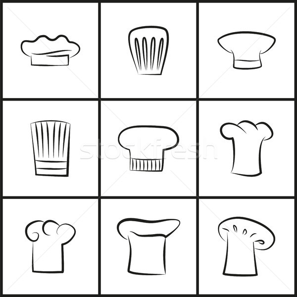 Chef Hats of All Shapes Thin Outline Illustrations Stock photo © robuart