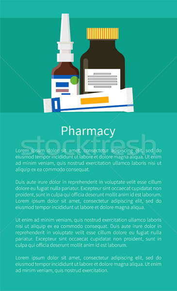 Pharmacy Poster with Nasal Drops, Ointment in Tube Stock photo © robuart
