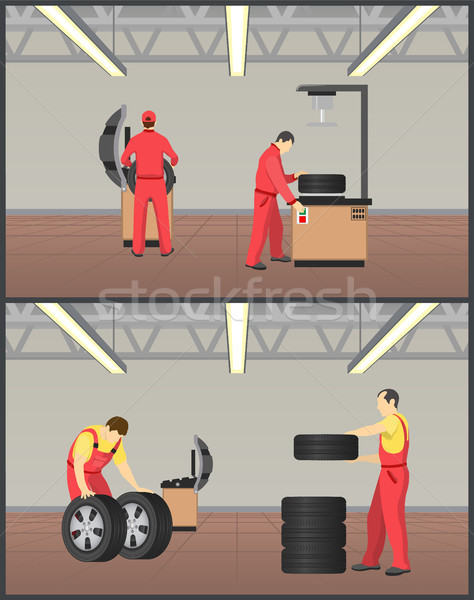 Workshop for Tyres Servicing Vector Illustration Stock photo © robuart