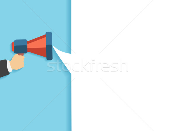 Hand holding a red megaphone with bubble Stock photo © robuart