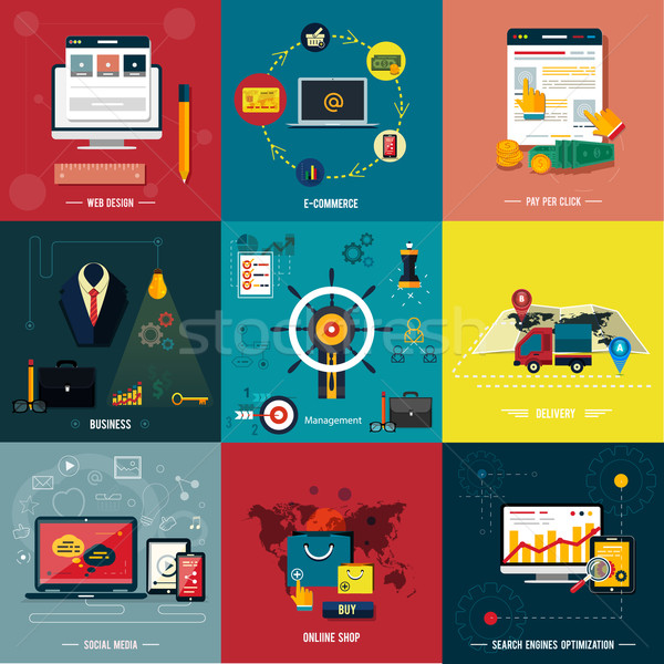 Icons for web design, seo, social media Stock photo © robuart