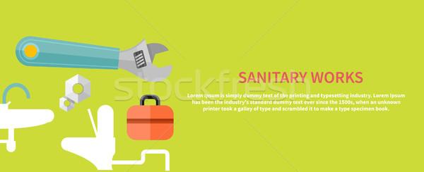 санитарный Инструменты ключа инженер характер икона Сток-фото © robuart