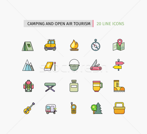 Line Icons Camping Equipment, Open Air Tourism Stock photo © robuart