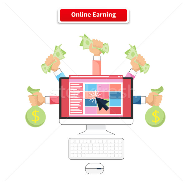Icon Flat Style Concept Online Earning Stock photo © robuart