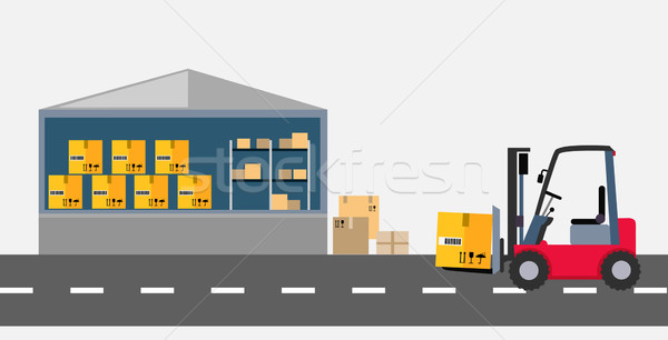 Warehouse and Stackers Flat Design Stock photo © robuart