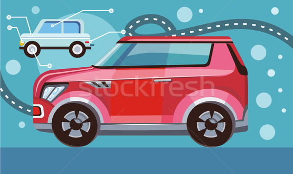 Red Car on Highway Stock photo © robuart