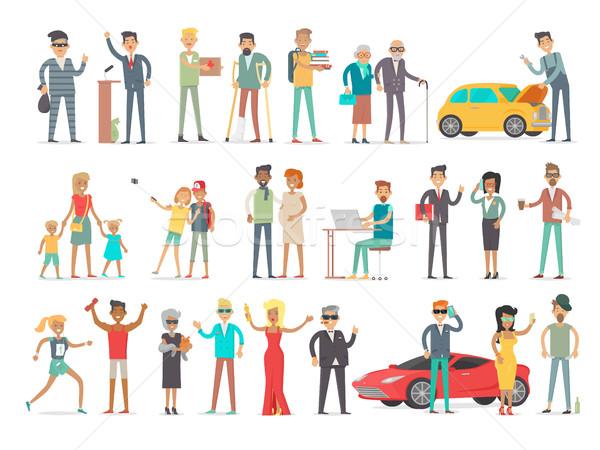 Collectie verschillend sociale niveau mensen Stockfoto © robuart