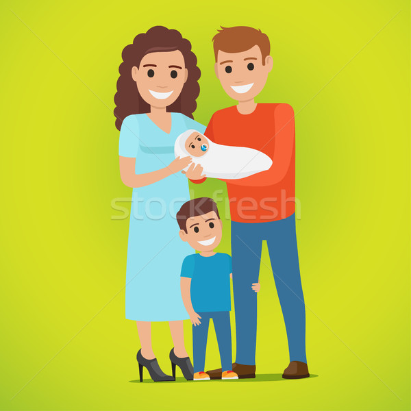 Couple Holds Newborn and Small Boy Standing near Stock photo © robuart