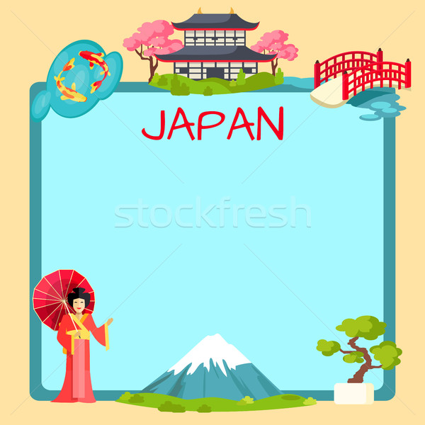 Japan Poster with Traditional Oriental Elements Stock photo © robuart