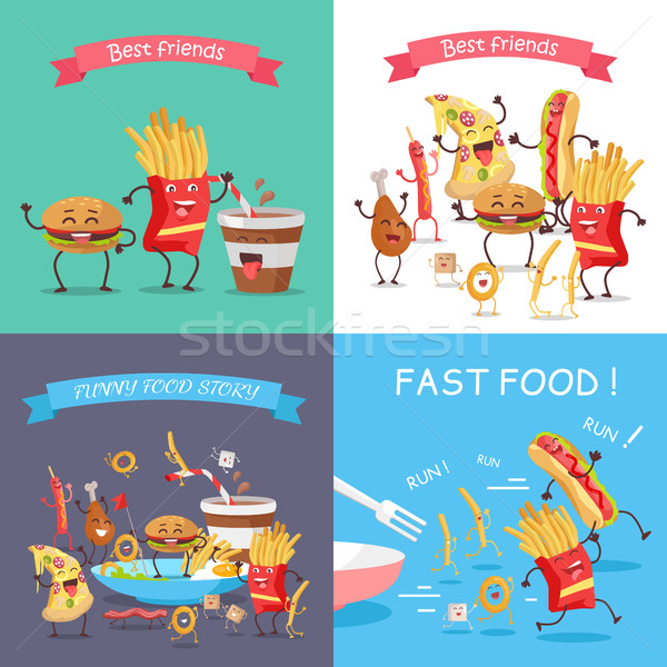 Fast Food Cartoon Characters Banner Set Stock photo © robuart