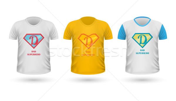 Dad Superhero T-shirt Front View Isolated. Vector Stock photo © robuart