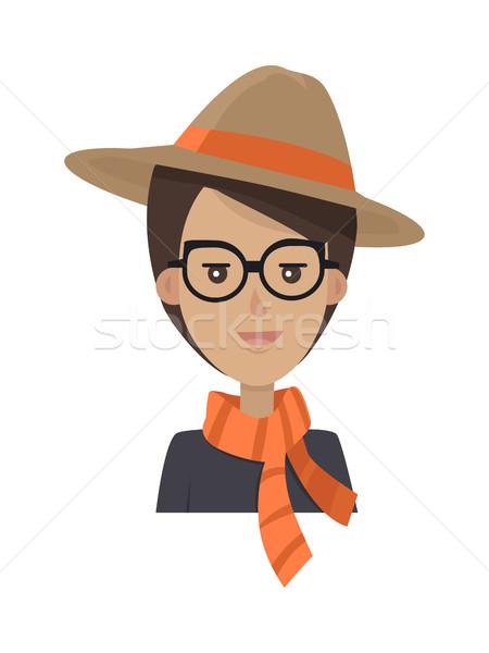 Portret stijlvol jonge vrouw hoed bril vrouw Stockfoto © robuart