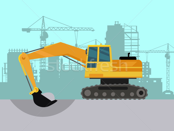 Ground Works on Construction Flat Vector Concept Stock photo © robuart