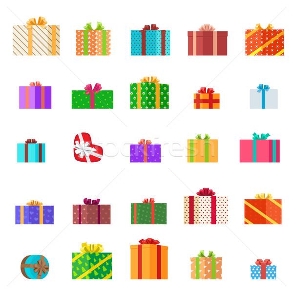 Stock fotó: Ajándékok · illusztráció · szett · ünnep · gyűjtemény · ajándékdobozok